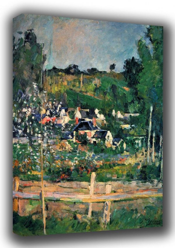 Cezanne, Paul: A View of Auvers-sur-Oise, The Fence. Landscape Fine Art Canvas. Sizes: A3/A2/A1 (001018)